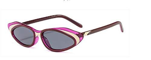 ZJMIYJ Sonnenbrillen Crystal Cat Eye Sonnenbrille Frauen Streifen Sonnenbrille Männer Frauen Brillen Weiss Violett mit kleinem Rahmen