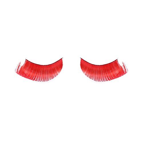 (Frcolor 1 Paar Rote Feder Falsche Wimpern Wiederverwendbare Synthetische Wimpern Lange Gefälschte Wimpern für Halloween Weihnachtsfeier Kostüm)