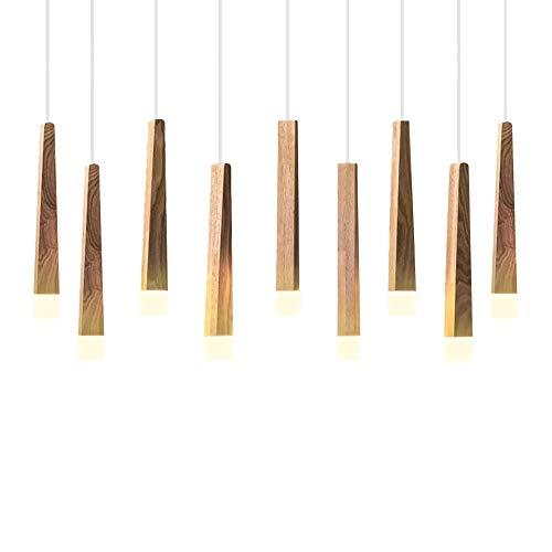 CARYS LED Pendelleuchte Holz Hängelampe Höhenverstellbar Modern Hängeleuchte Esszimmer Deckenleuchte Leuchtmittel Kronleuchter für Wohnzimmer, Esstisch Schlafzimmer Warmweiß 3000K -