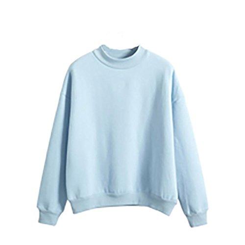 FORH Damen Plus Größe Gemütlich Wildleder Pullover Hoch wertige Solide Farbe Lange Hülse Crew Neck Pullover Tops mehrere Farbe (S, Blau) (Plus Strickjacke Seide Size)