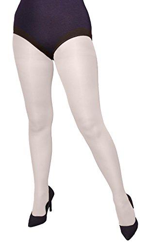 Strumpfhose PERLA Übergröße 40 DEN mit besonders bequemem Zwickel von Adrian Gr. X-Large, weiß - Fancy Pants Panty