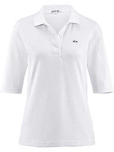 Lacoste PF0088 Klassisches Damen Polo, Polohemd, Polosshirt mit 3/4 Arm, Kurzarm. Regular Fit, für Freizeit und Sport, 100% Baumwolle Weiß (White 001), EU 40