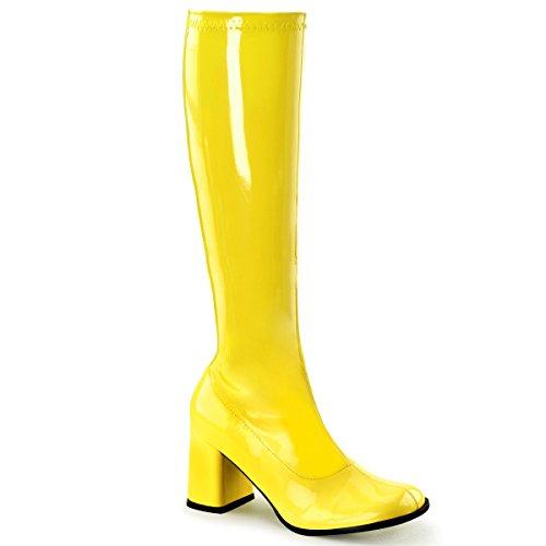 Funtasma Gogo-300UV sexy High Heels Stretch Stiefel Neon Gelb Komfort Heel 35-48 Übergröße Karneval Fasching Halloween Kostüm, Größe:EU-39 / US-9 / (Gogo Neon Gelb Damen Stiefel)