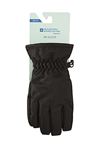 Mountain Warehouse Kids Ski Gloves - Snow Proof, Elasticised Cuffs, Textured Palm & Thumb with Adjustable Cuffs & Fleece Lined - Great for entry level skiwear Black Small