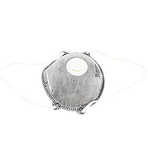 HEALIFTY Professionelle Acticarbon Filter Nonwoven Mundmaske Staubdicht Anti Schädliche Luft für Industrie Arbeitsschutz (Grau)