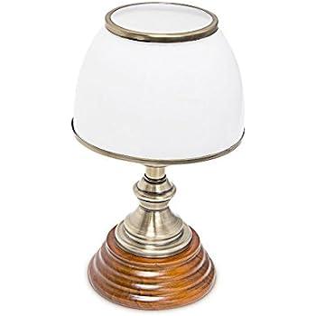 Relaxdays Luminaire Déco petite Lampe de Table Abat-Jour en Verre Blanc Socle en Bois Véritable HxlxP: 37 x 30 x 20,5 cm style ancien vintage