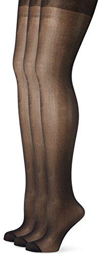 Ulla Popken Große Größen Damen Weites Bein Strumpfhose Strumpfhose, 3er Helanca 668121, 20 DEN, Gr. XXX-Large (Herstellergröße: 52+), Schwarz (Schwarz 10)