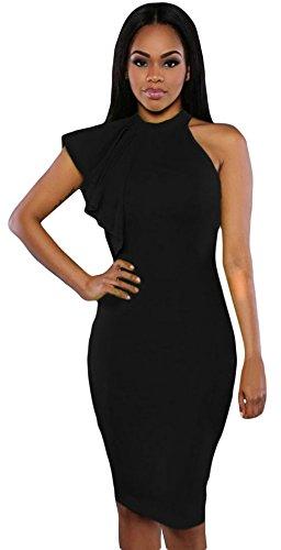 La Vogue Stretch Robe Genou Fourreau Femme Col Roulé Épaule Nu Dress Soirée Noir