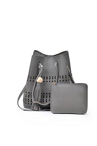 Modische Frauen Hohlen Zwei Sätze Von 2017 Casual Einfache Schulter Messenger Bag Handtaschen Gray