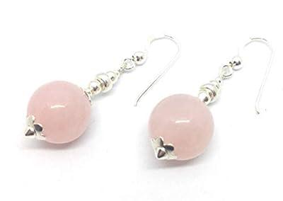 Boucles d'oreilles en argent et quartz rose, perle de 12 mm