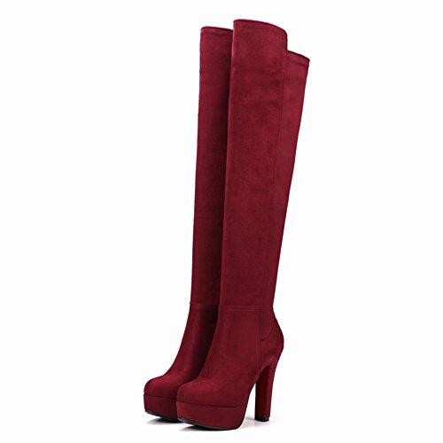 Mee Shoes Damen langschaft high heels Plateau Stiefel Weinrot