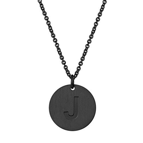 PROSTEEL Damen Halskette schwarz Edelstahl Rolokette mit Runde Anhänger Buchstabe J Gravur Münze Kette für Mädchen Frauen Initiale Schmuck Jahrestag Weihnachten (Für Münze Schmuck Frauen)
