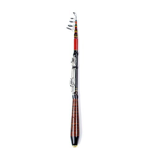 Toogoo(r)1.2m 3.94ft telescopica canna da pesca in fibra di viaggio lure spinning rod raft pole carbon nero e rosso