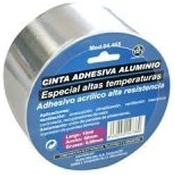 CINTA ADHESIVA DE ALUMINIO ESPECIAL TEMPERATURA USO VENTILACIÓN Y AISLAMIENTO ANCHO 50mm LONGITUD 10M ELECTRODH 04.465