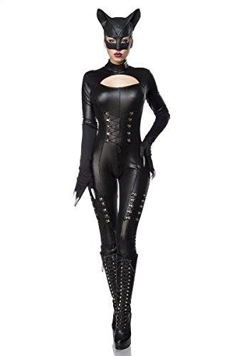 (Hot Catwoman Wetlook Komplettset - Overall,Maske und Handschuhe - Karneval Katzen Kostüm (80037) (S-M))