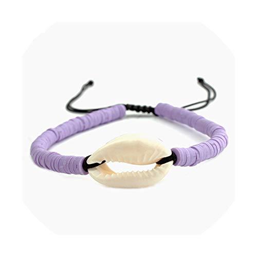 Bunte Quaste Shell Charme-Armband-Armbänder für Frauen 4 Farben elastische Schnur Gummihandgemachte böhmische Anhänger Armband, Purple1 -