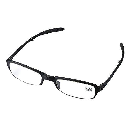 aroncent Dioptrie 1.00–4.00Lesebrille faltbar Kunststoff Harz Herren Damen Ermüdungsmatte Ultraleicht schwarz, Dioptrie wählbar Diottria 2.50