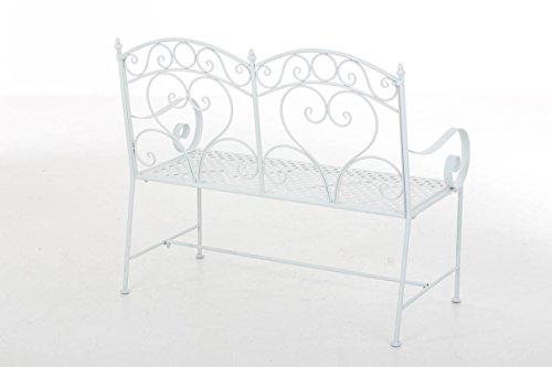 CLP Gartenbank SALIM im Landhausstil, aus lackiertem Eisen, 107 x 50 cm – aus bis zu 6 Farben wählen Weiß - 3