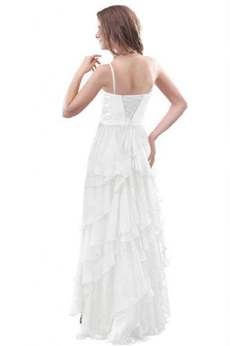 Sunvary nuovo arrivo donna Fashion A-Line Prom Gowns pieghettato abiti eleganti, in Chiffon, lunga, decorata con brillantini White