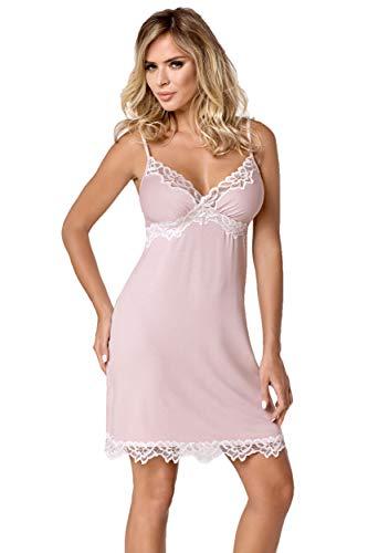 Hamana Erotisches Damen Dessous Chemise Nachtkleid mit Spitze Nachthemd rosa weiß M