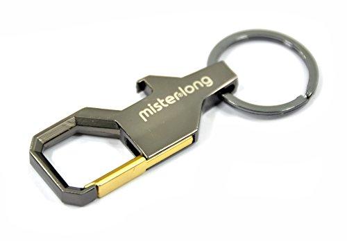 Mister Flasche (2x Luxus Schlüsselanhänger Schlüsselbund champagne metallic look Schlüsselband mit Flaschen-Öffner Funktion Auto car)
