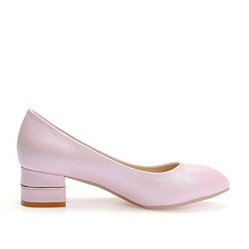 Voguezone009 Mujer Faux Suede Leather Pointed Toe Low Heel Pull Pure Pink Ballet Zapatos