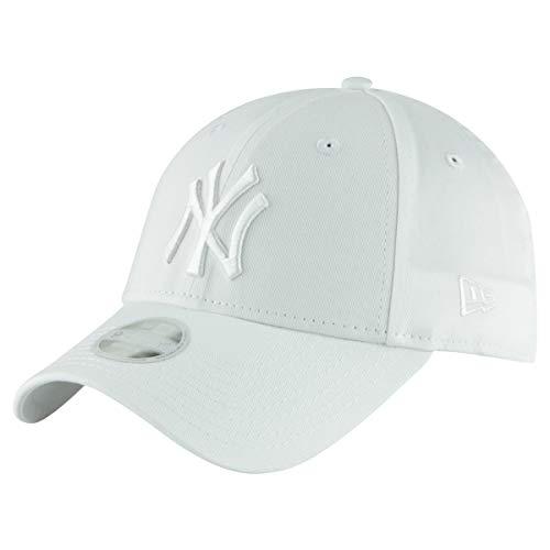 New Era 9Forty Unisex Damen Herren MLB League Essential/Brand Logo 940 Adjustable Cap Strapback Cap Baseball Cap mit 7kmh Aufkleber, OSFM, Weiß 7234