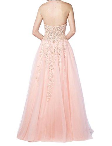 Charmant Damen 2017 Neu Romantisch Herzausschnitt Abendkleider Promkleider  Partykleider Lang A-linie Rock Rosa
