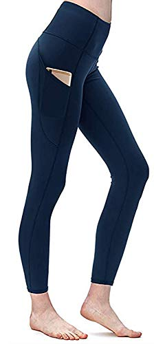 Yavero Damen Sporthose Legging Yoga Leggings mit Höhe Taille Yogahose für Damen Stretch Fitnesshose Bauchkontrolle Weich Laufhose Jogginghose Blau L