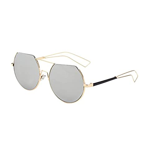 Hmilydyk Fashion Vintage pour lentilles de lunettes de soleil polarisées Miroir rond Lunettes de protection UV Eyewear avec étui, Gold Frame Grey Lens