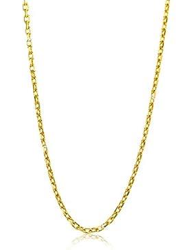 Orvoi Damen Ankerkette Halskette 14 Karat (585) GelbGold Anker diamantiert Goldkette 1,3mm breit 45cm lange