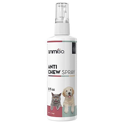 Animigo Anti Kau Spray - Für Hunde und Katzen, Bitterspray gegen unerwünschtes Kauen & Knabbern, Haustier Fernhaltespray, Kaustopp für Hund & Katze, Fernhalten von Möbel, Bitter - 236ml Spray
