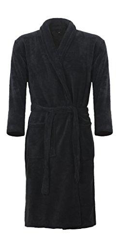 Mack Klassischer Bademantel in Farbe schwarz Größe XL wadenlang Unisex u2013 für Damen und Herren