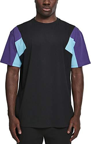 Urban Classics Herren 3-Tone Tee T-Shirt, black/ultraviolet/aqua, M