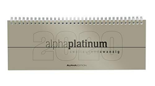 Tisch-Querkalender alpha platinum 2020 - Tischkalender - Bürokalender (29,7 x 10,5) - 1 Woche 2 Seiten - platin - Ringbindung - Platin 10.5