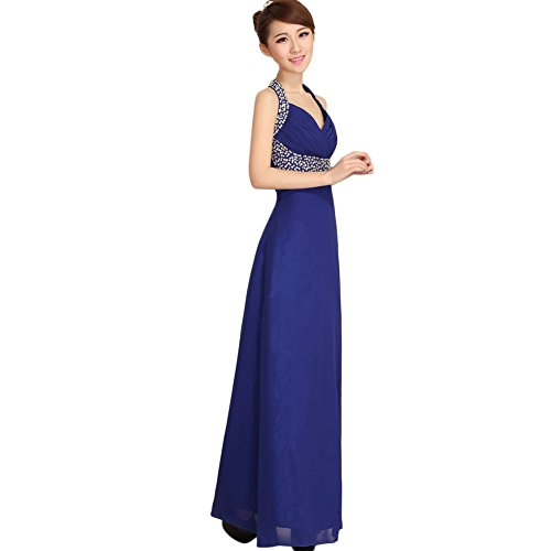 June's Young Femme Robe de soirée Longue Simple Sexy Col V sans manche avec accessoire strass Bleu Foncé