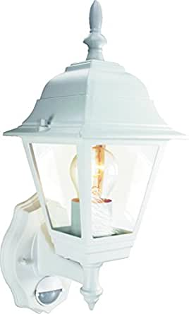 Byron Elro GLS / 23W ES 4-Panel Wall Lantern with PIR Motion Detector, White, 100w, ES94W