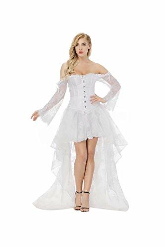 aizen Damen Gothik Halloween Korsett Kleider Lang Asymmetrie Korsagen Bustiers Lange Ärmel Spitze sexy Weiß XL (Weißes Halloween Spitzen-kleid)