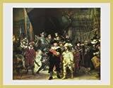 Bild mit Rahmen Harmensz. van Rijn Rembrandt - Die Nachtwache, 1642 - Aluminium gold glänzend - 80.0 x 60.0cm - Premiumqualität - MADE IN GERMANY - ART-GALERIE-SHOPde