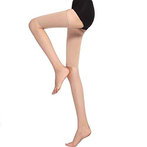 Xshuai Heißer Verkauf weiche antimikrobielle Abnehmen-Schenkel-Former-elastische Ausdehnungs-Plastikbein-Socken eingestellt für Bein (One Size, Beige) (Denim Hose Ruffled)