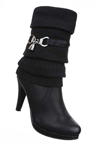 Damen Stiefeletten Schuhe High Heels Stiefel Schwarz Beige Grau Hellbraun 36 37 38 39 40 41 Schwarz