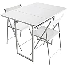 Versa 19840050 - Mesa plegable con 2 sillas, color blanco