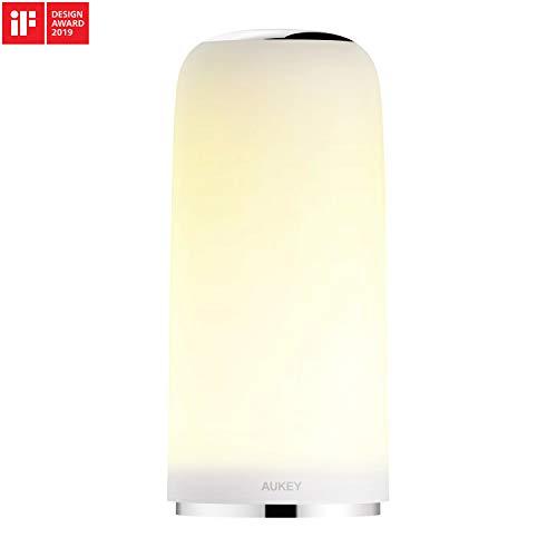 AUKEY Nachttischlampe Berührungssensitive Tischlampe mit Dimmbarem Warmem Weißlicht und Memory-Funktion Nachtlicht für Schlaf- und Wohnzimmer