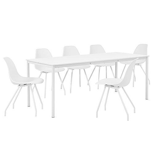 [en.casa] Hochwertiger Esstisch in weiß mit 6 weißen Designer-Stühlen - 180cm x 80cm