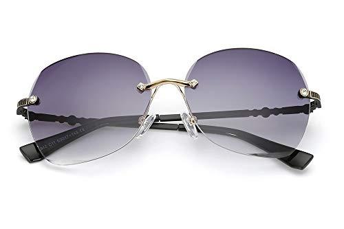 LKVNHP randlose Sonnenbrille Frauen markendesigner übergroßen Sonnenbrille uv400 Spiegel oculos de sol Feminino schwarz Beingrau