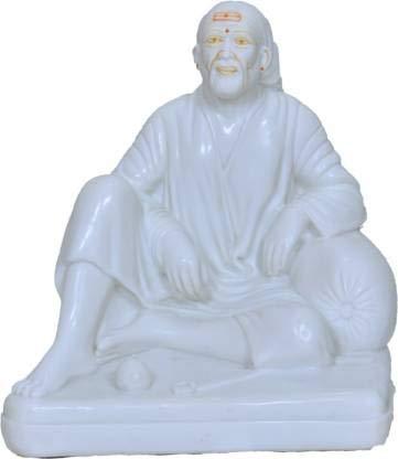 Sai Amrut Exclusive Dhwarka Mai Sai Baba Murti Idol/Statue in Marble for Home Decor, Pooja Room, Gift Purpose (4 INCH)