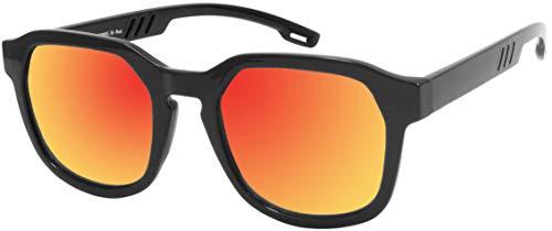 La Optica B.L.M. UV 400 CAT 3 Unisex Damen Herren Sonnenbrille Eckig Nerd - Einzelpack Glänzend Schwarz (Gläser: Rot verspiegelt)