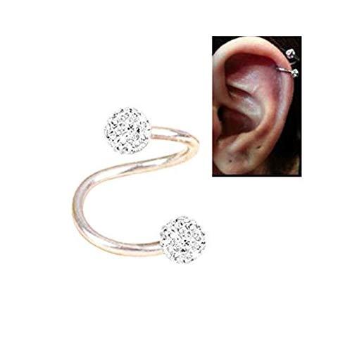 Surgical Steel Twist Helix Cartilage Ear Crystal Stud Ear Piercing Earrings 16 g by thimmei