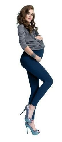 Hochwertige Umstandshose Legging lang für Schwangere aus Baumwolle, 7 verschiedene Farben Dunkelblau