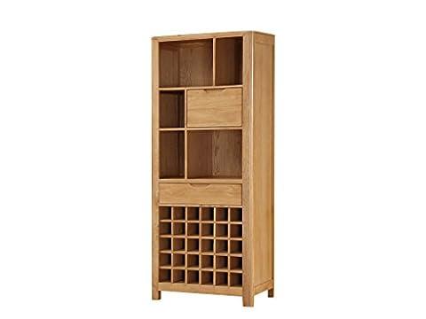 Hartselle Haut de vin en chêne massif avec 2tiroirs–Chêne de haut Vin Cabinet–Finition: Chêne–Salle à manger–Meuble de salon